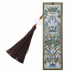 Diamond Painting Bookmarks Diamond Painting Kits Diy Special Shaped Diamond Painting Creative Leather Bookmarks With Tassel For Books