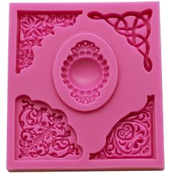 FUNSHOWCASE Cameo With Curlicues Scroll Fondant Silicone Mold For Sugarcraft Cake Decoration Cupcake Topper Chocolate Pastry Coo