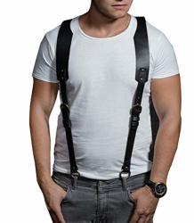 Pinwe Men's Leather Body Chest Harness Belt Punk Adjustable Club Wear Costumes BDK-01