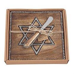 Mud Pie Hanukkah Star Of David Wooden Cutting Board With Spreader