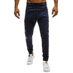 Dainzuy Men Denim Sweatpants Casual Elastic Joggings Sport Solid Long Pants Baggy Pockets Jeans Trousers
