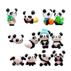 QTFHR 12 Pcs 1 Set Cute Pandas Toys Figurines Playset Cake Decoration