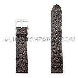 Dark Brown 20MM Genuine Alligator Flat Leather Watch Band