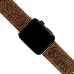 Apple Watch Leather Carved Bands Ezzdo Handmade Bump Retro Genuine Leather Flower Replacement Strap For Men Women Brown Bracelet