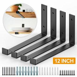 12 Inch Shelf Bracket 4 Pack Heavy Duty Wall Shelf Brackets With Lip Metal Shelf Support Brackets With Hardware For Diy Open Shelving