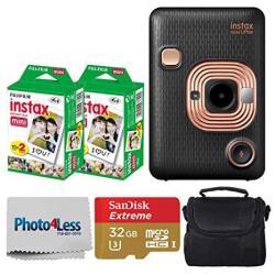 Fujifilm Instax MINI Liplay Hybrid Instant Camera Elegant Black + Fujifilm Instax Instant Film 40 Shots + 32GB Mcirosdhc Memory