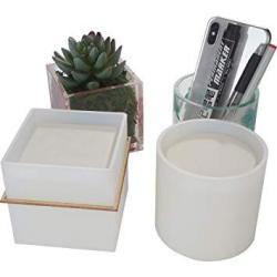 2 Pack Big Diy Plant Pot Mold Cube And Cylinder Resin Planter Mold Square Silicone Molds Diy Flower Pot Molds Pen Holder Molds