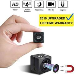 Spy MINI Hidden Camera Cop Cam - HD 1080P Portable Small Nanny Cam Surveillance Magnetic Security Camera With Night Vision motion Detection Perfect Indoor outdoor Surveillance