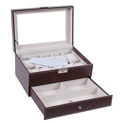 BASTUO Watch Box 10 Mens Watch Display Case Organizer With Pu Leather Jewelry Display Case With Key&lock Brown With Glass Top