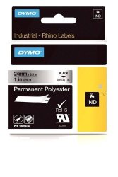 """E7QYL Dymo Industrial Permanent Labels For Dymo Industrial Rhinopro Label Makers Black On Metallic 1"""" 1 Roll 1805434"""