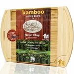 Bamboo Wood Cutting Board - Organic Chopping Board - Cutting Boards For Kitchen - Extra Large Wooden Cutting Boards With Juice G