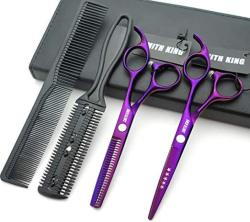 5.5 Inches Hair Scissors With Thinning Comb Hair Cutting Shears Thinning Shears Set For Professional And Personal Violet