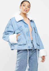 Missguided Faux Fur Collar Denim Jacket - Blue 1