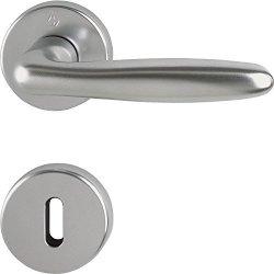 Hoppe Verona Door Handle Set With Rosette Bb Deadlock Stainless Steel Effect 2950886