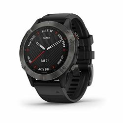 Fenix Garmin 6 Sapphire Premium Multisport Gps Watch Features Mapping Music Grade-adjusted Pace Guidance And Pulse Ox Sensors Dark Gray With Black Band
