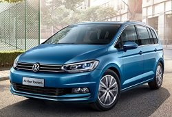 """Volkswagen Touran L 2016 Car Print On 10 Mil Archival Satin Paper Blue Front Side Static View 16""""X20"""