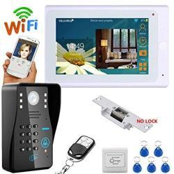 "Mountainone 7"" Tft Wired wireless Wifi Rfid Password Video Door Phone Doorbell Intercom System With Electric Strike Lock+ Ir-cut"