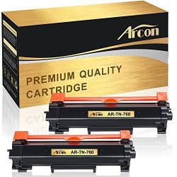 AR's Brother Inc. No Chip Arcon 2 Packs Compatible For Brother TN-760 TN760 TN-730 Toner Cartridge For TN-770 HL-L2350DW HL-L2370DW HL-L2370DWXL HL-L2390DW HL-L2395DW DCP-L2550DW L2390DW L2710DW L2750DW