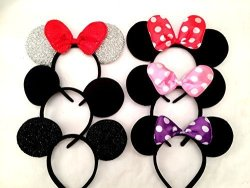 Ear Company Mickey Mouse Ears Solid Black And Bow Headband For Boys And Girls Birthday Party Celebration Or Event With A Specially Crafted Gift Pack Of 6