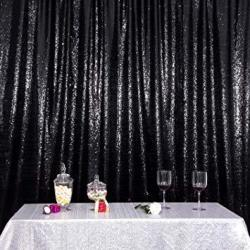 POISE3EHOME 6FT X 8FT Sequin Photography Backdrop Curtain With Non-transparent Backing For Party Decoration Black