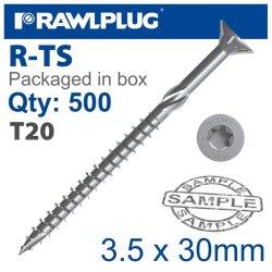 RawlPlug Torx T20 Chipboard Screw 3.5X30MM X500-BOX
