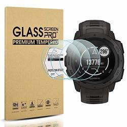 Diruite 3-PACK For Garmin Instinct Tempered Glass Screen Protector For Garmin Instinct Smartwatch 2.5D 9H Hardness Anti-scratch