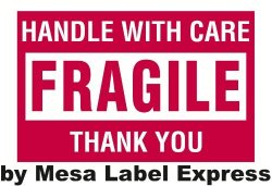 """Mesa Label Express 2"""" X 3"""" - Fragile - Handle With Care Shipping Labels 500 Per Roll"""