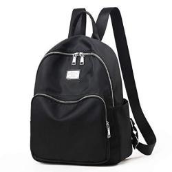 Women Backpack Purse Waterproof Nylon Anti-theft Rucksack Lightweight Shoulder Bag Black