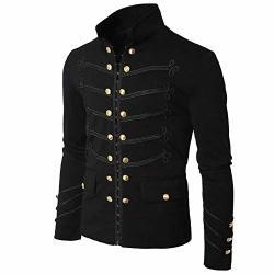 PASATO Men's Coat Jacket Gothic Embroider Button Coat Uniform Costume Praty Outwear Black M=us:s