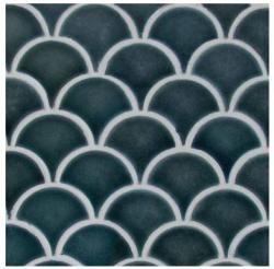 MS International Azul Scallop Glossy 13.11 In. X 9.96 In. X 8 Mm Glazed Ceramic Mesh-mounted Mosaic Tile