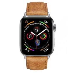 Colton James Leather Strap For Silver 44MM Apple Watch - Tan