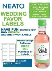 Neato Wedding Favor Labels 10 Sheets Makes 80 Labels
