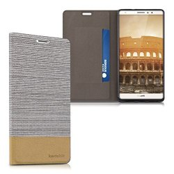 KW-Commerce Kwmobile Flip Cover Case For Huawei Mate S - Protection Case Cover Bookstyle Made Of Synthetic Leather And Fabric In Light Grey Brown