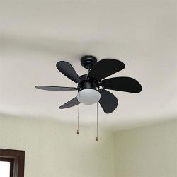 """Eurolux Turbo Swirl 30"""" Ceiling Fan With Light - Black"""