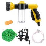 Portable 12V High Pressure Electric Car Wash Washer Water Pump Sprayer Kit Foam Water Cleaning Kit