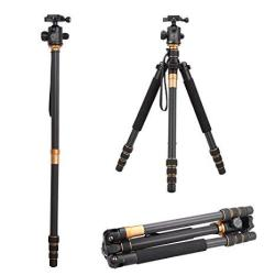 Qzsd Q999C Pro Carbon Fiber Tripod Monopod Stand With Ball Head And Carrying Bag Compact Portable Traveling For Digital Camera And Camcorder