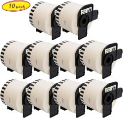 Yellow Yeti 10 Rolls DK-22205 Continuous Length Paper Tape 62MM X 30.48M Labels Compatible With Brother