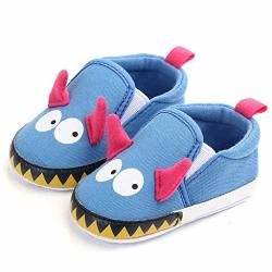 Mifelio Girl Cute Cartoon Home Slippers Kid Fur Lined Winter House Slippers Warm Indoor Slippers For Boys Blue
