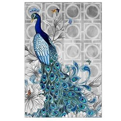 Decdeal 5D Diamond Embroidery Peacock Diy Diamond Painting Picture Pasted Rhinestone