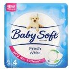 Baby Soft 2-ply Toilet Tissue White 4 Rolls