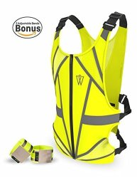 GlowONme W Crazy Reflective Running Vest - Reflective Gear For Running Cycling Jogging Walking Motorcycle Adjustable Front Zippe