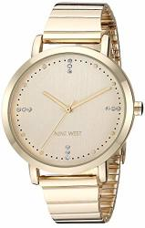Nine West Women's NW 2278CHGP Crystal Accented Gold-tone Bracelet Watch