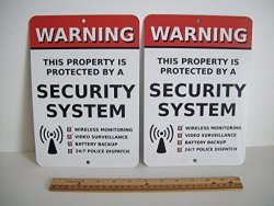 Security Signs 2 Home Security Alarm System 7X10 Metal Yard Signs - Stock 704