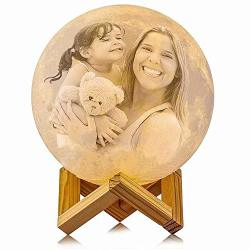 Fanbuou Personalized Moon Lamp: 3D Printed Custom Photo & Text Moon Light For Kids Gift With USB Charging And Touch Control Brightness Warm And