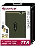 "Transcend TS1TSJ25M3G Storejet 25M3 1TB 2.5"" USB 3.1 Military Green Portable External Hard Drive"