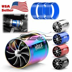 EZAUTOWRAP MI2KA Turbine Air Intake Fuel Gas Saver Dual Fan Double Turbonator Acceleration System Turbo 2.5-3.0 Blue
