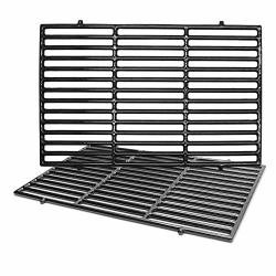 "Hongso 7638 17.5"" Polished Porcelain Cast Iron Grill Grates Replacement For Weber Spirit 300 310 320 Series Spirit 700 Genesis S"