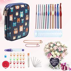 Teamoy Aluminum Crochet Hooks Set Knitting Needle Kit Organizer Carrying Case With 12PCS 2MM To 8MM Hooks And Complete Accessori