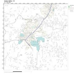 Zip Code Wall Map Of Grass Valley Ca Zip Code Map Laminated