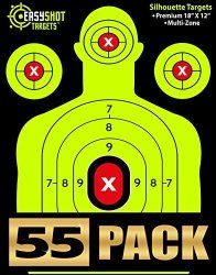 Easyshot 55-PACK Shooting Targets 18 X 12 Inch. Shots Are Easy To See With Our High-vis Neon Yellow & Red Colors. Thick Silhouet